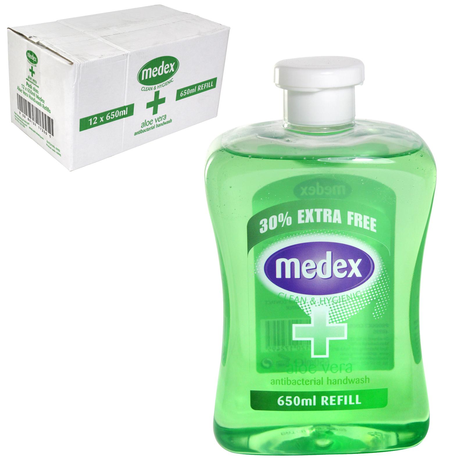 MEDEX ANTI-BAC HAND WASH FLIP CAP 650ML ALOE VERA X12