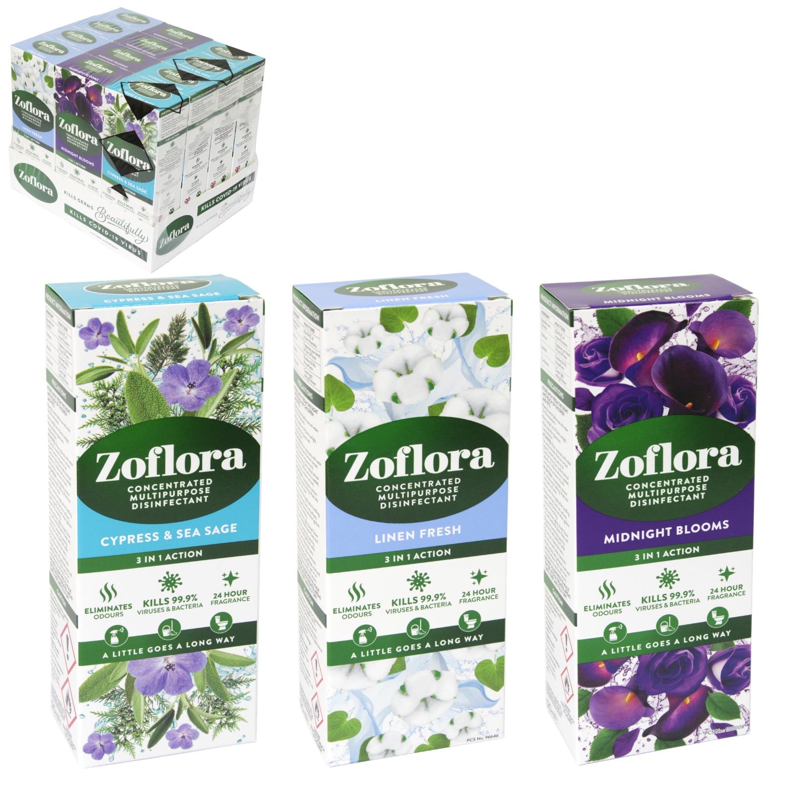 ZOFLORA 120ML LINEN FRESH/TWILIGHT GARDEN/HELLO SPRING/LAVENDER ESCAPE X12
