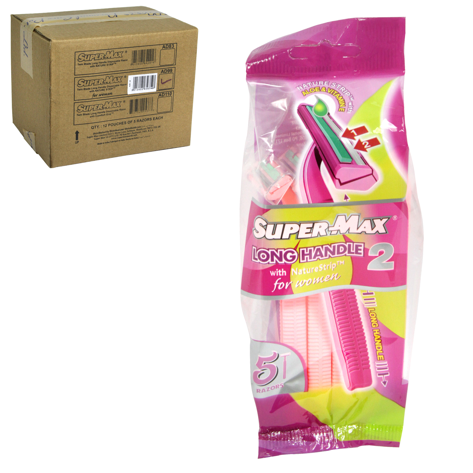 SUPERMAX 5 TWIN BLADE LONG HANDLE DISPOSIBLE RAZOR FOR LADIES X12