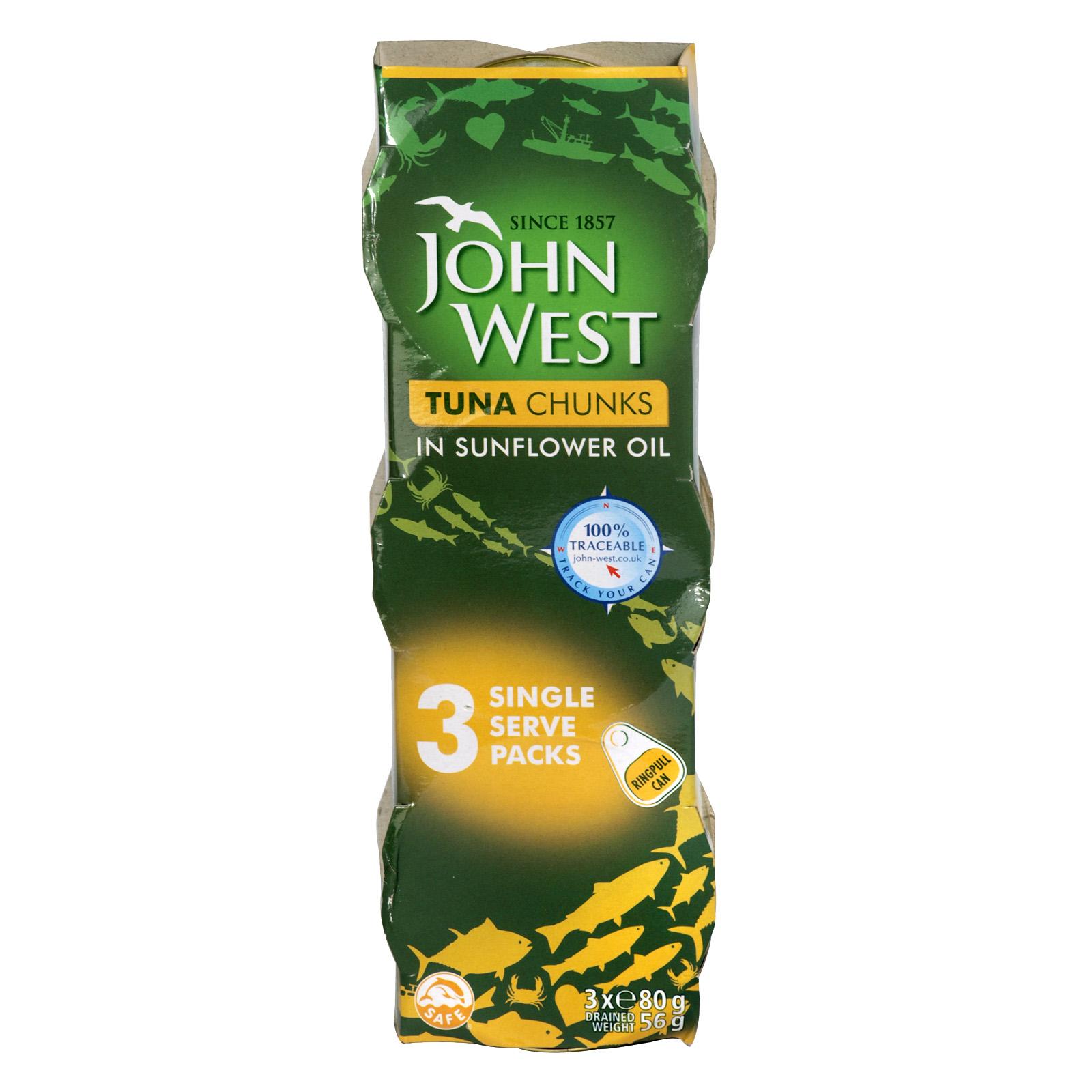 JOHN WEST TUNA CHUNKS IN OIL 3X80GM X4