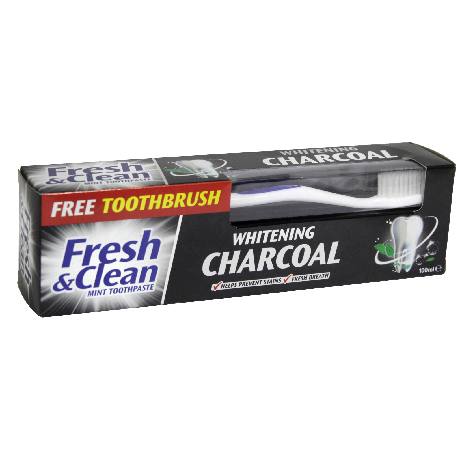 FRESH+CLEAN TOOTHPASTE 100ML+TOOTHBRUSH FOC WHITENING CHARCOAL