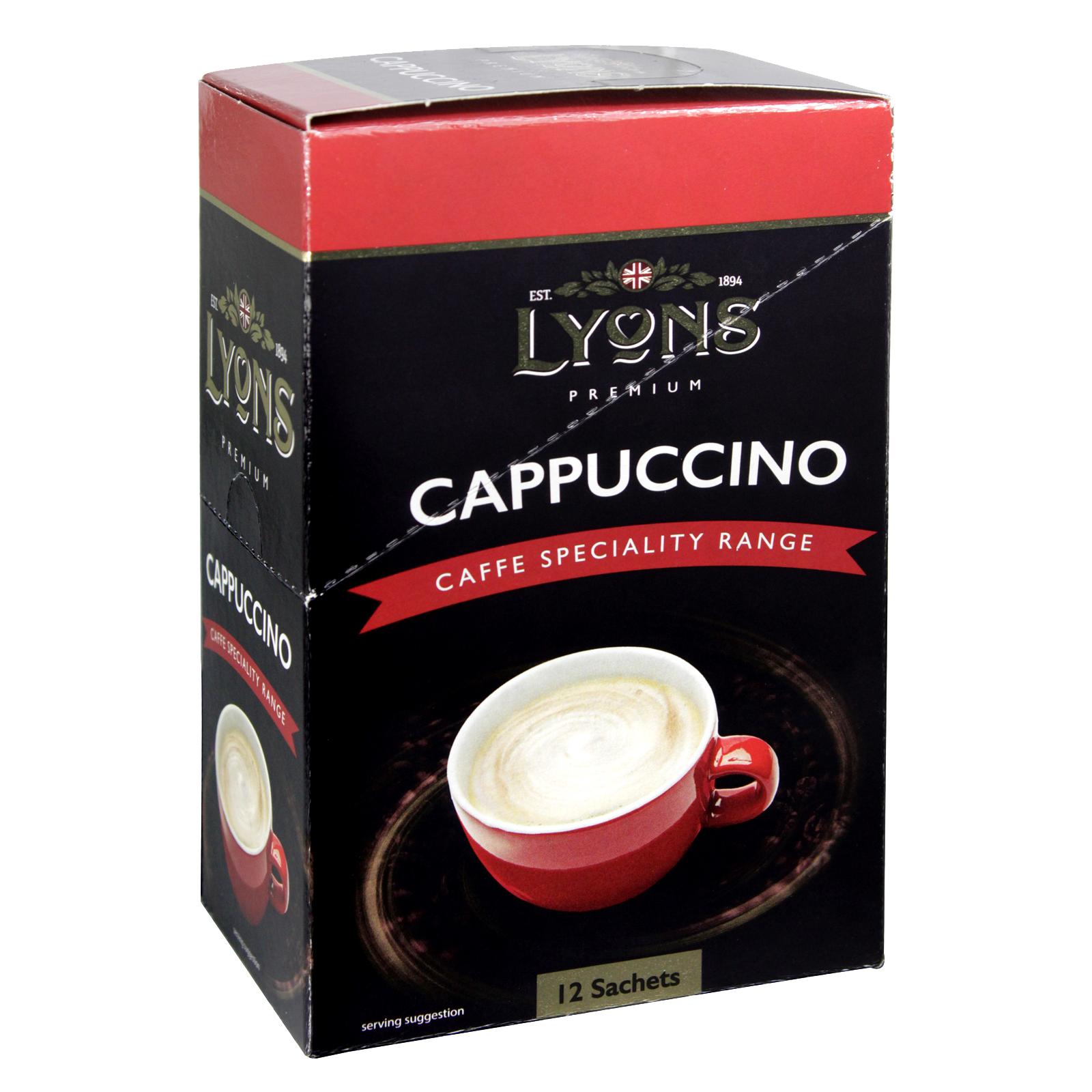 LYONS CAFFE SPECIALITY RANGE CAPPUCCINO 12 SACHETS X20