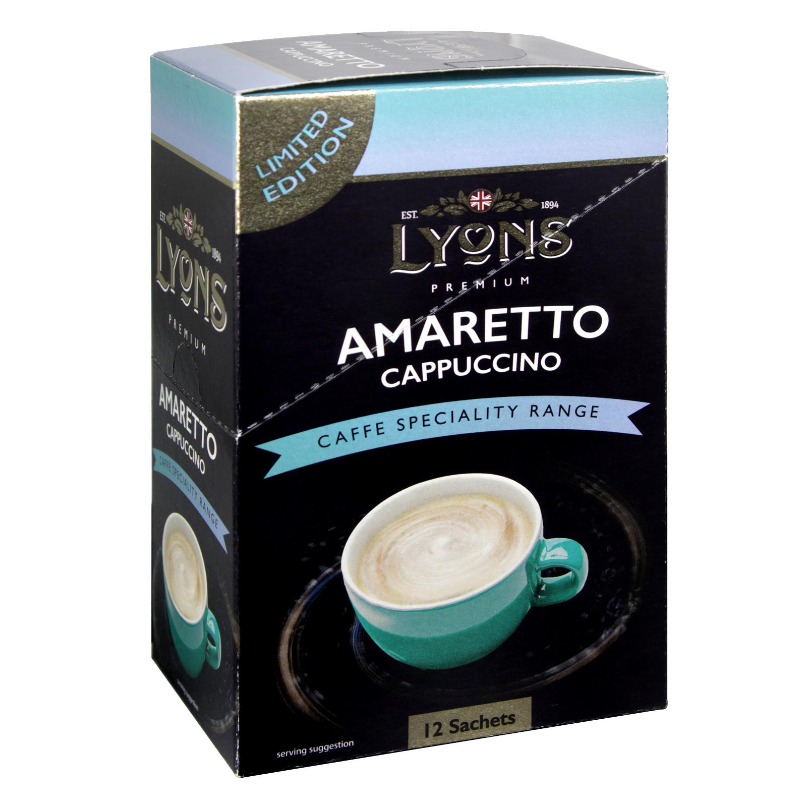 LYONS CAFFE SPECIALITY AMARETTO CAPPUCCINO 12 SACHETS X20
