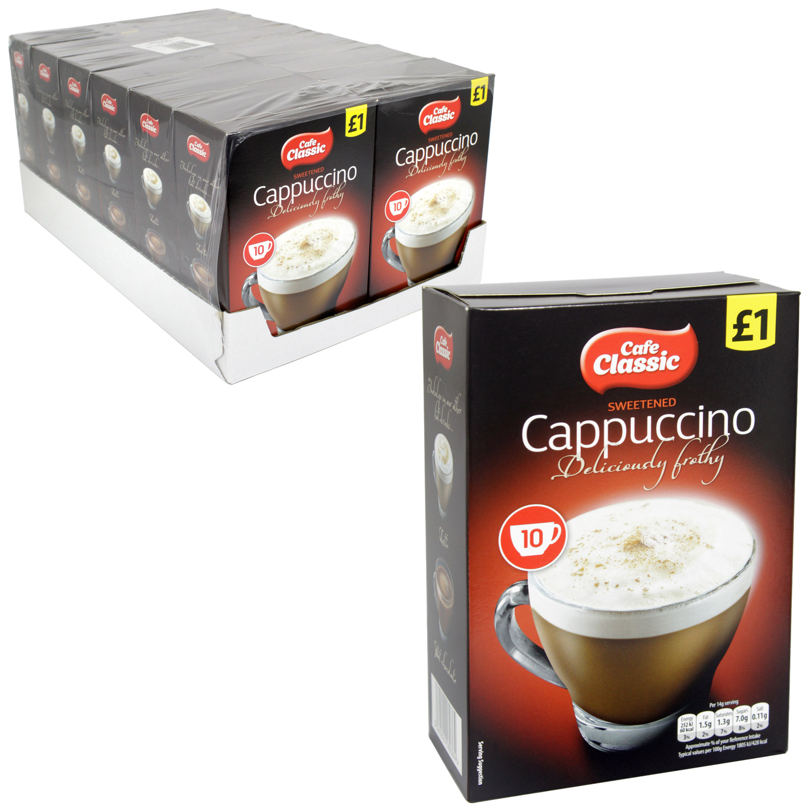 CAFE CLASSIC SWEETENED CAPPUCCINO 10PK P/M ?1 X12