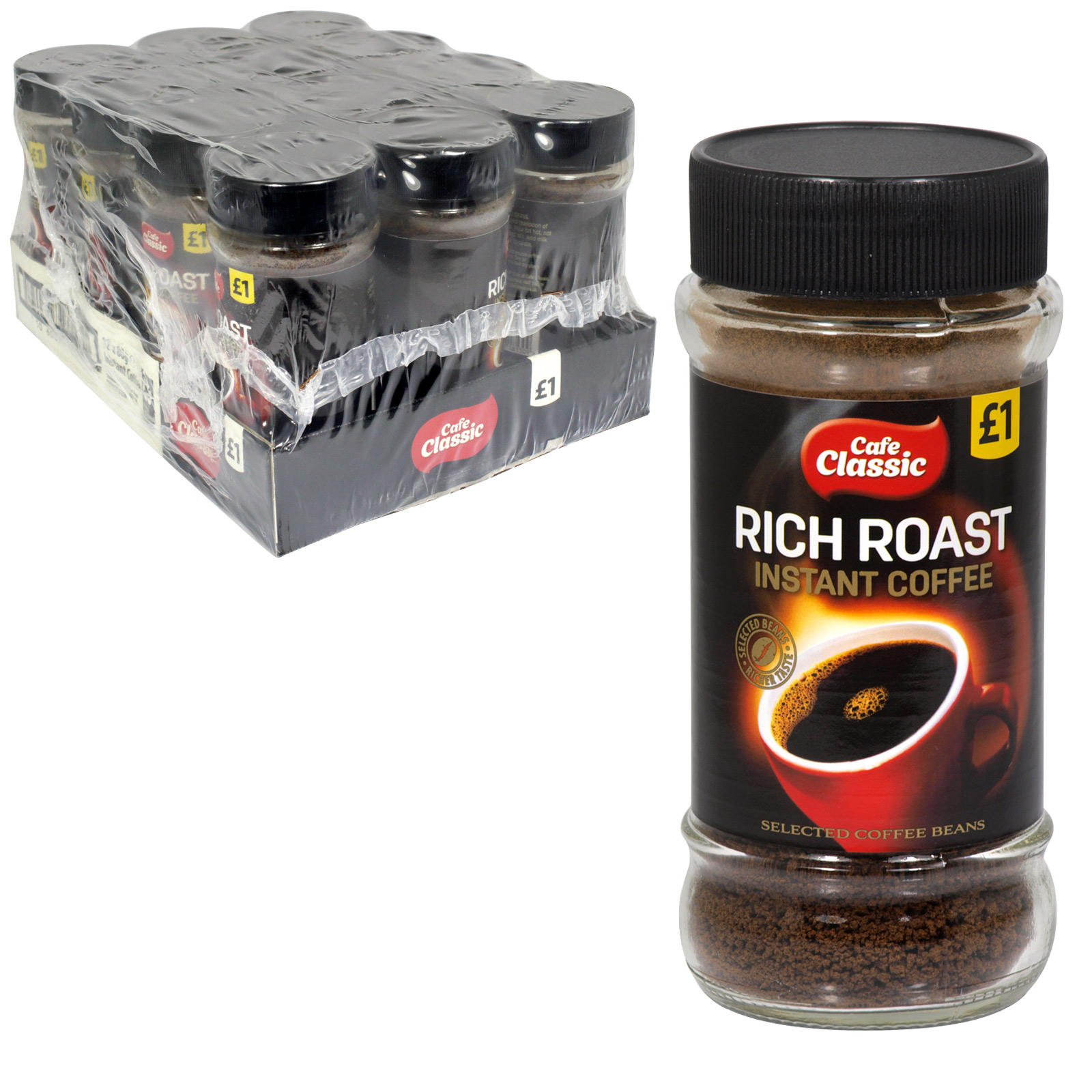 CAFE CLASSIC RICHROAST COFFEE P/M £1 80G X12
