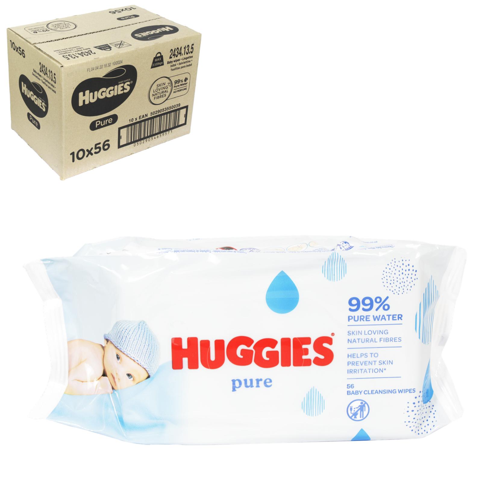 HUGGIES BABY WIPES 56S PURE X10
