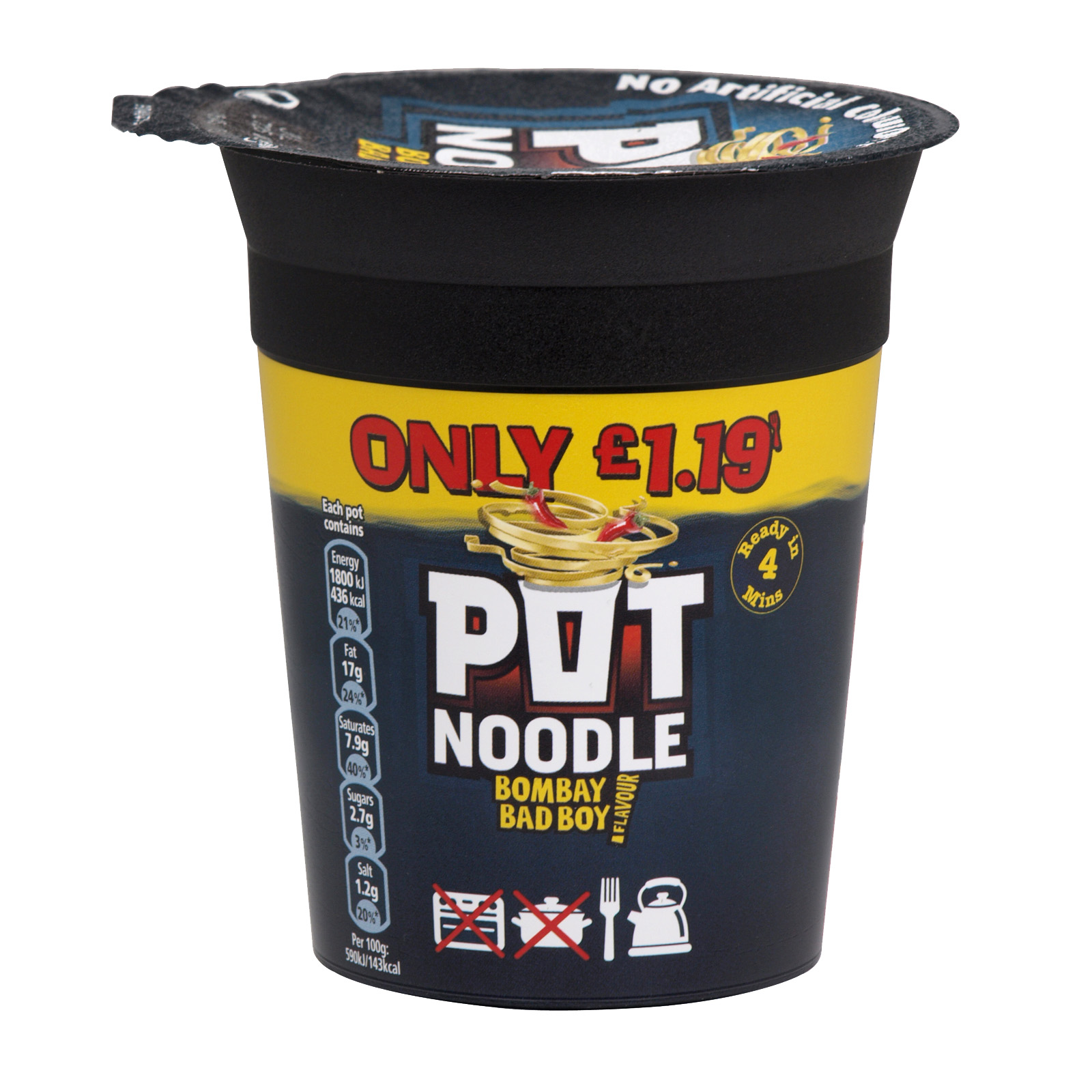 POT NOODLE 90GM BOMBAY BAD BOY X12
