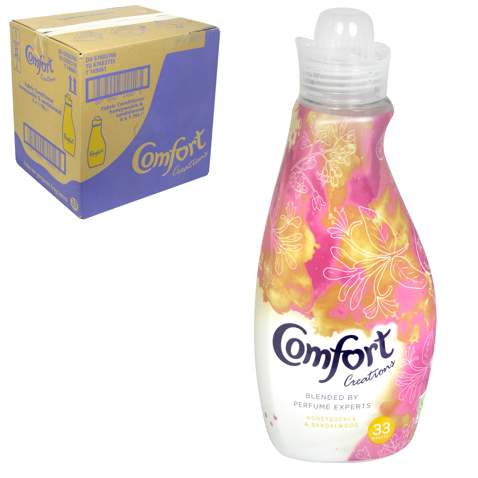 COMFORT INTENSE 33 WASH 1.16L HONEYSUCKLE+SANDALWOOD X6