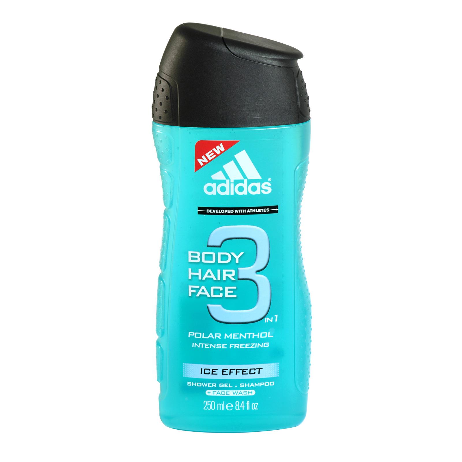 ADIDAS BODY+HAIR+FACE SHOWER GEL POLAR MENTHOL ICE EFFECT X6