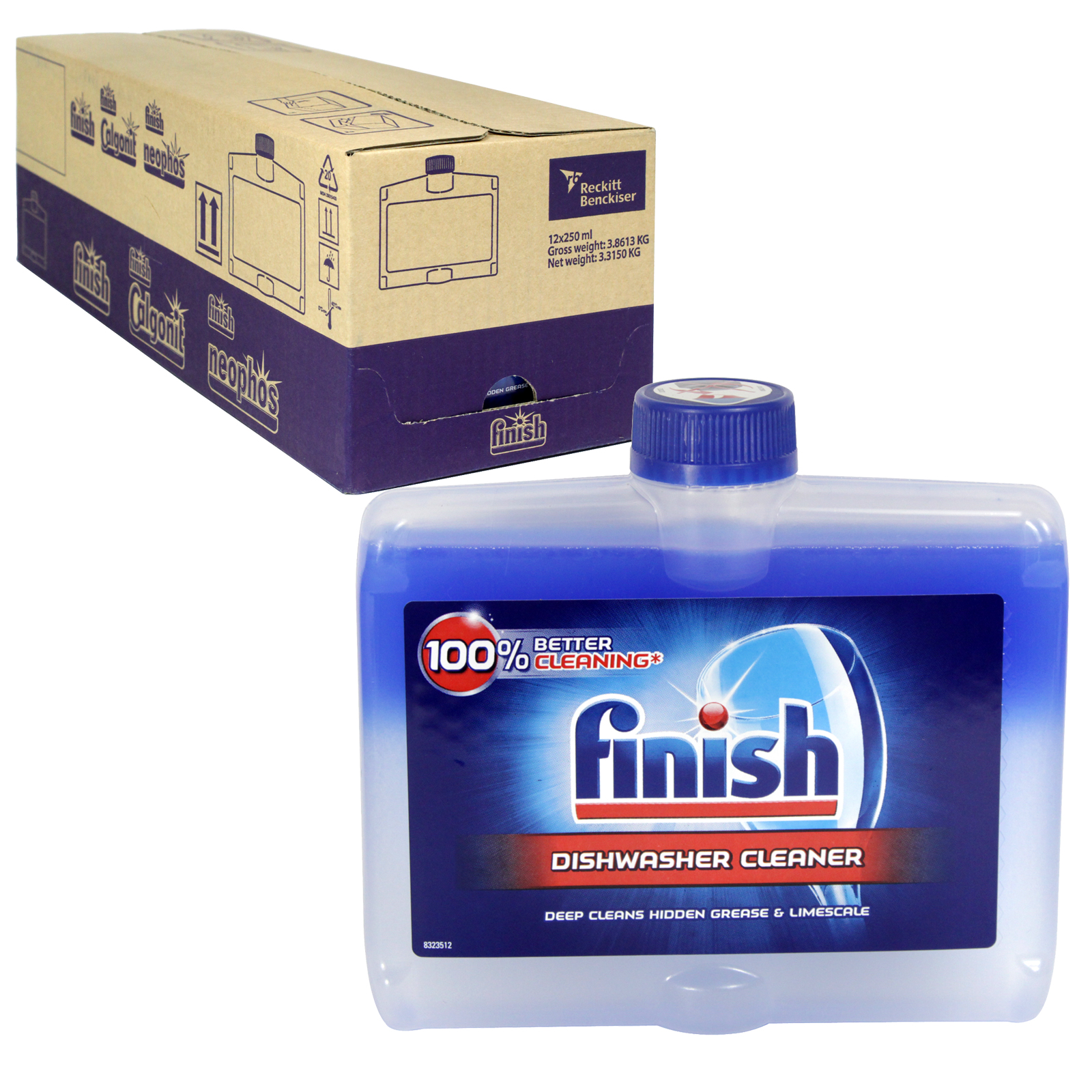 FINISH DISHWASHER CLEANER 250ML REGULAR X12