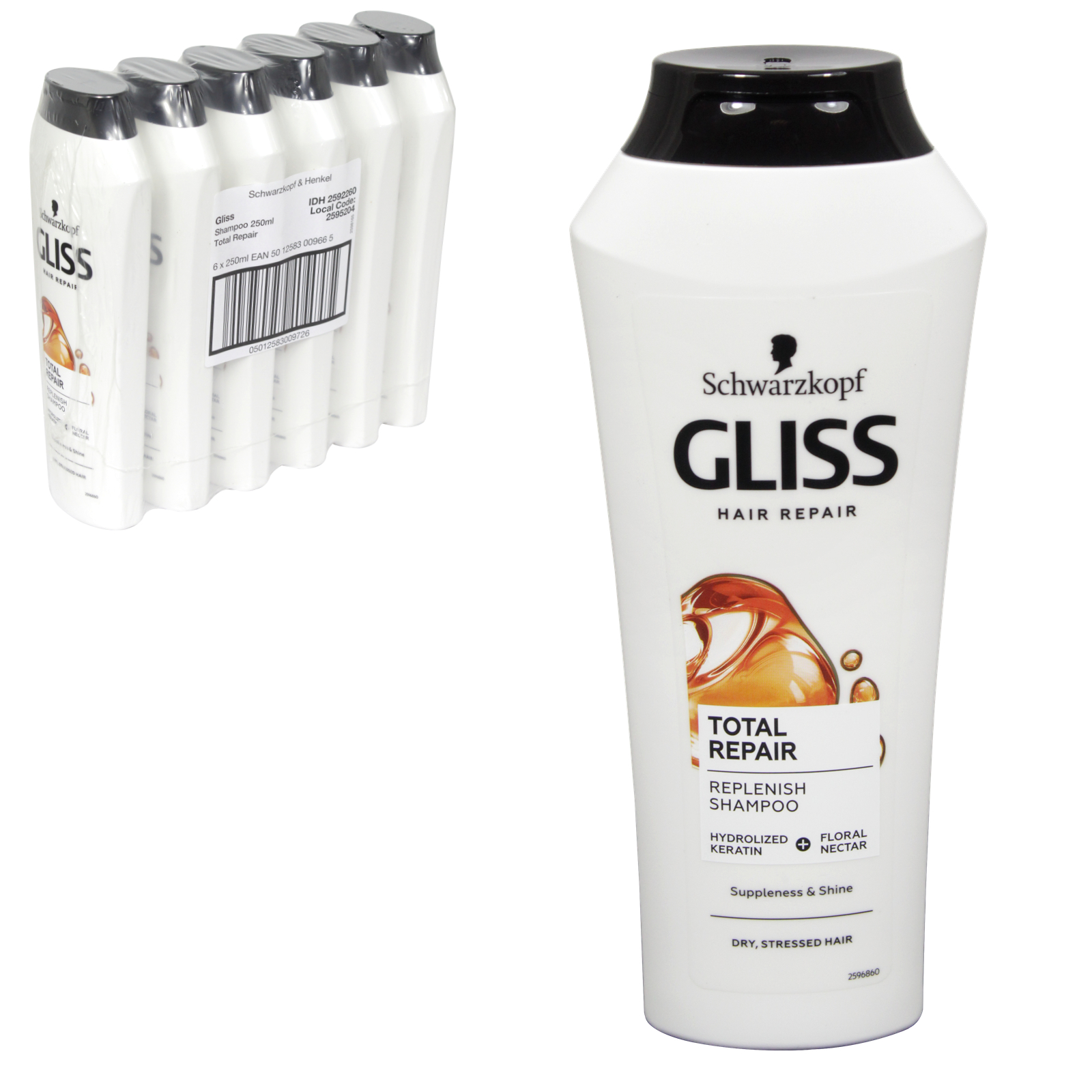 GLISS SHAMPOO 250ML TOTAL REPAIR X6