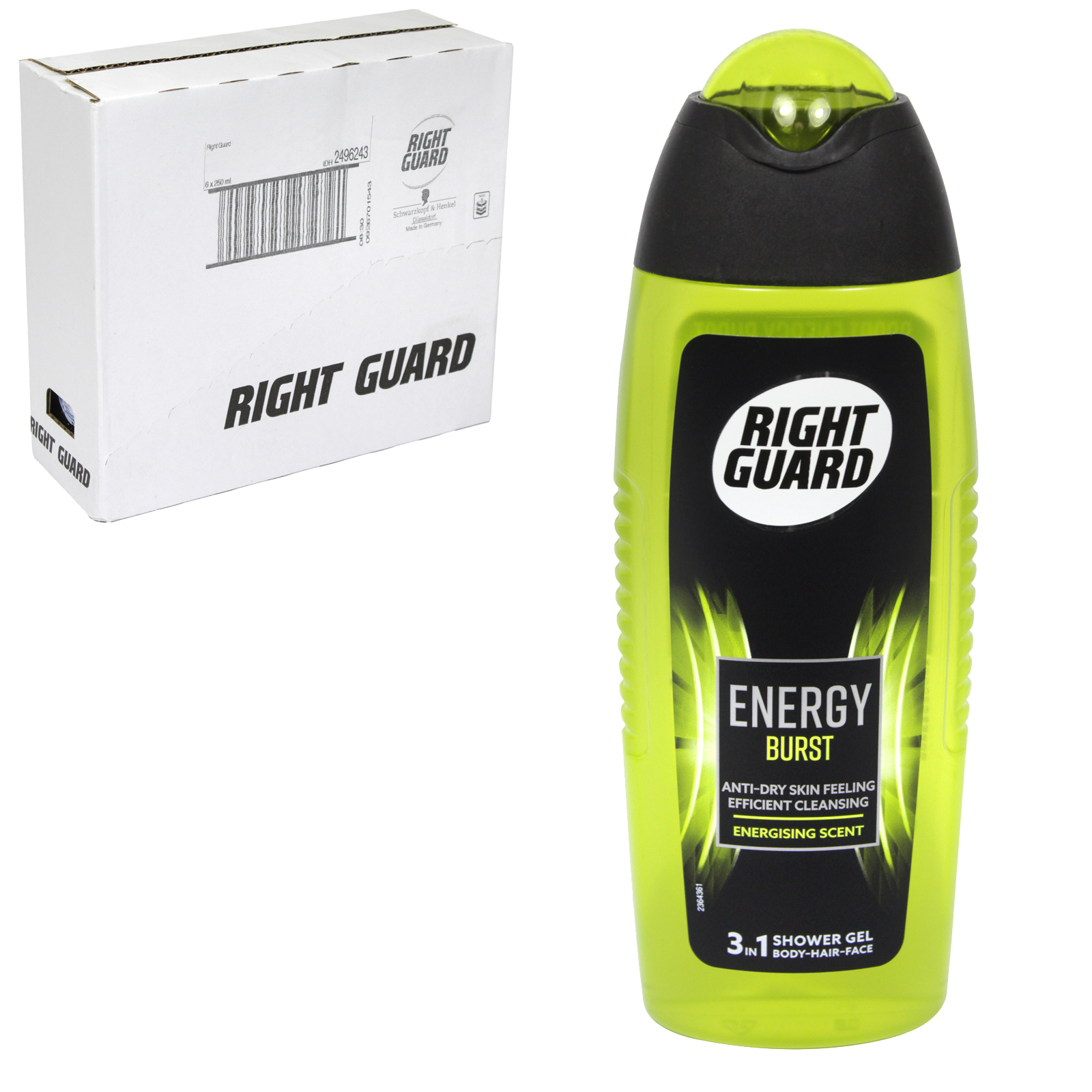 RIGHT GUARD 2IN1 SHOWER GEL 250ML XTREME ENERGY REVITALSING SCENT X6