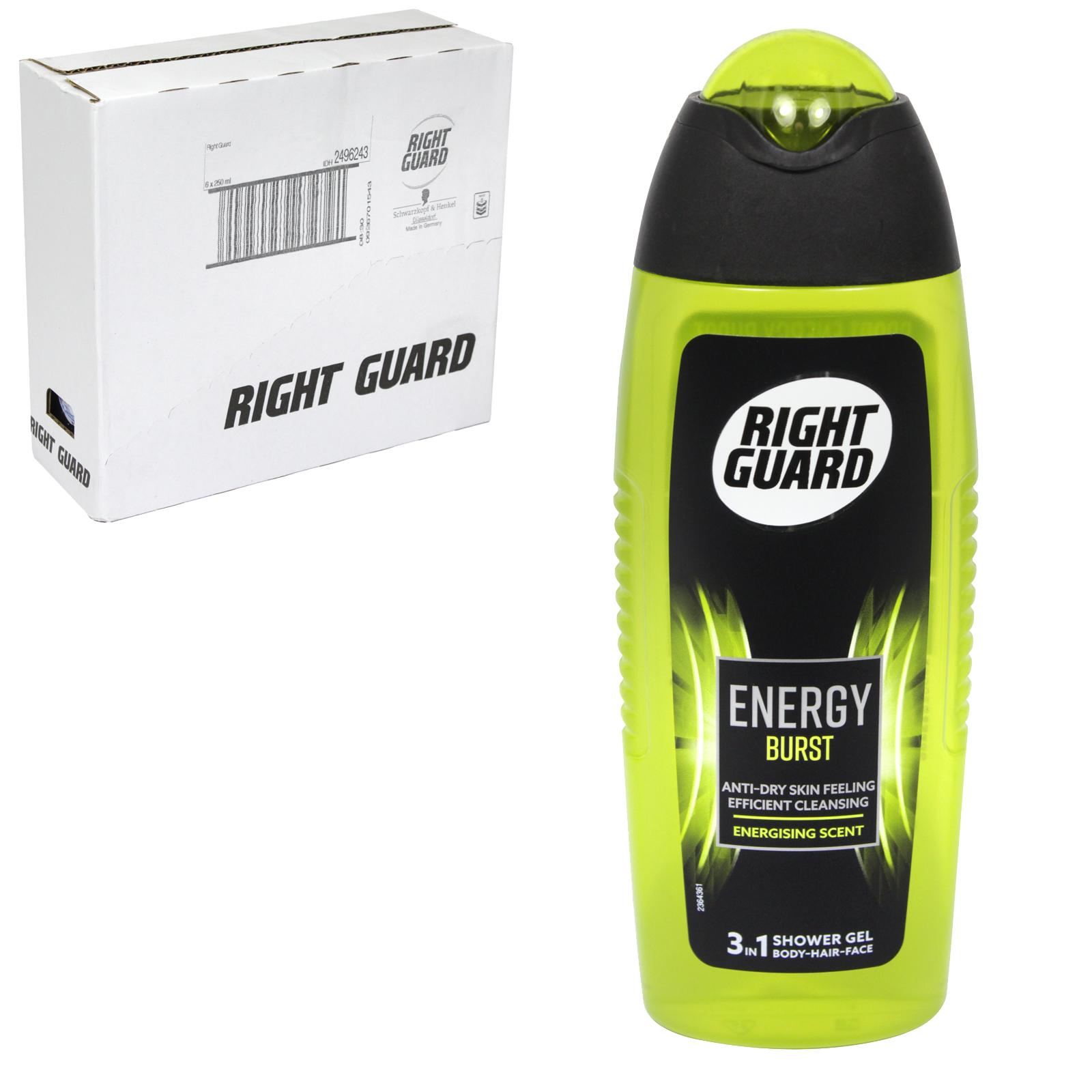 RIGHT GUARD 3IN1 SHOWER GEL 250ML ENERGY BURST ENERGISING SCENT X6