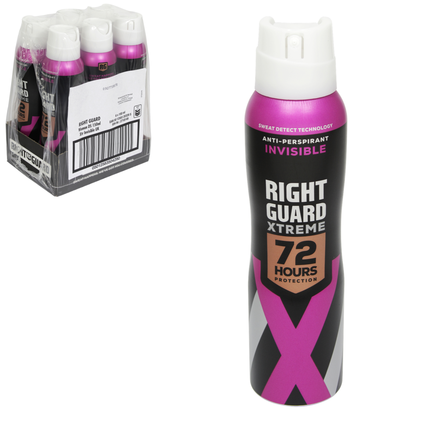 RIGHT GUARD XTREME APA FOR WOMEN 150ML INVISIBLE X6