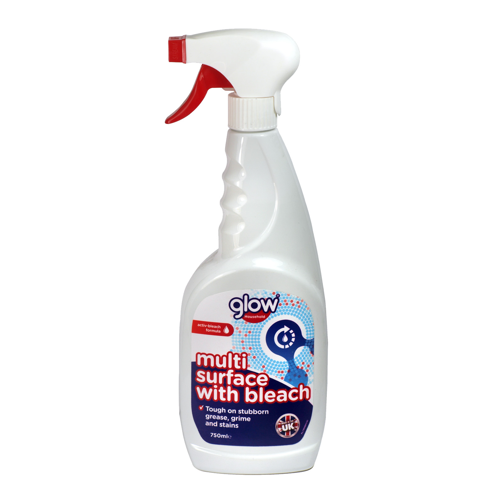GLOW 750ML TRIGGER MULTI SURFACE WITH BLEACH X12