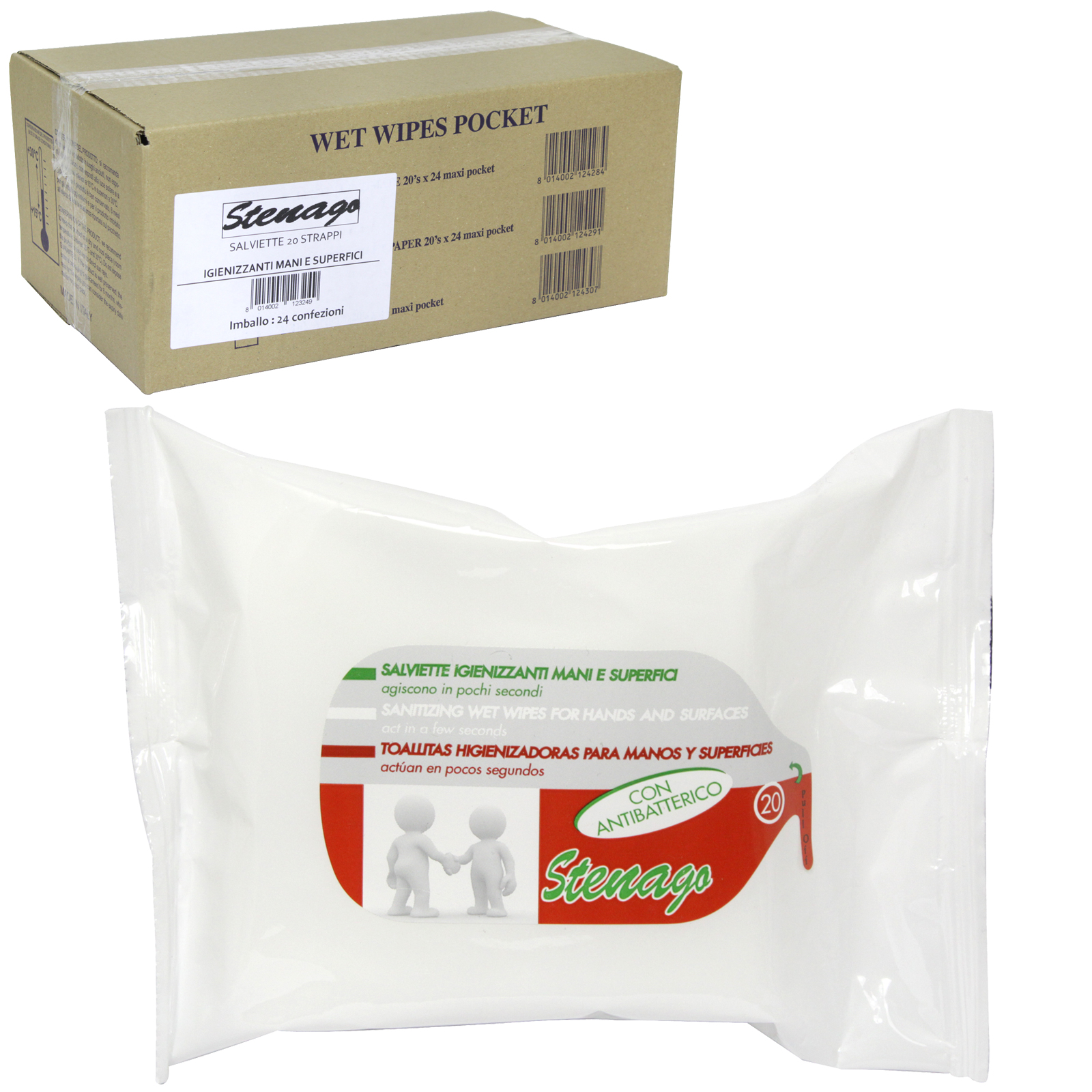 STENAGO 20 ANTI-BAC WET WIPES FOR HANDS AND SURFACES  X24