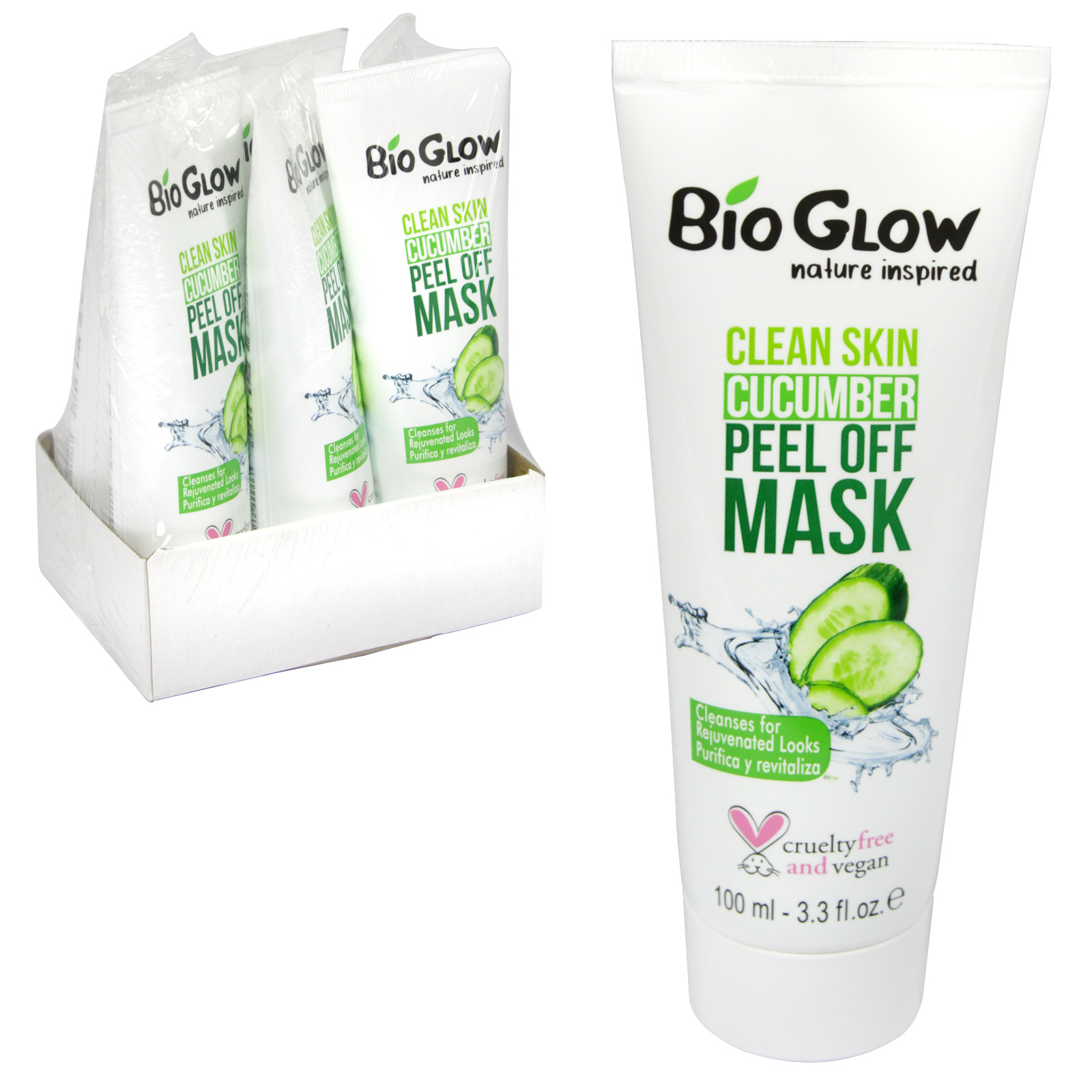 BIOGLOW CRUELTY FREE+VEGAN FRIENDLY PEEL OFF FACE MASK 100ML CUCUMBER X6