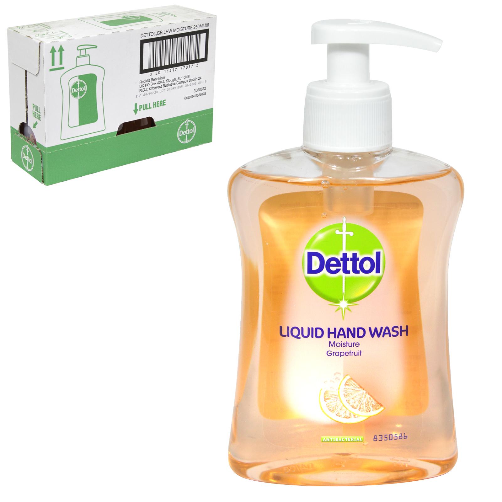DETTOL LIQUID SOAP 250ML MOISTURISING GRAPEFRUIT X6