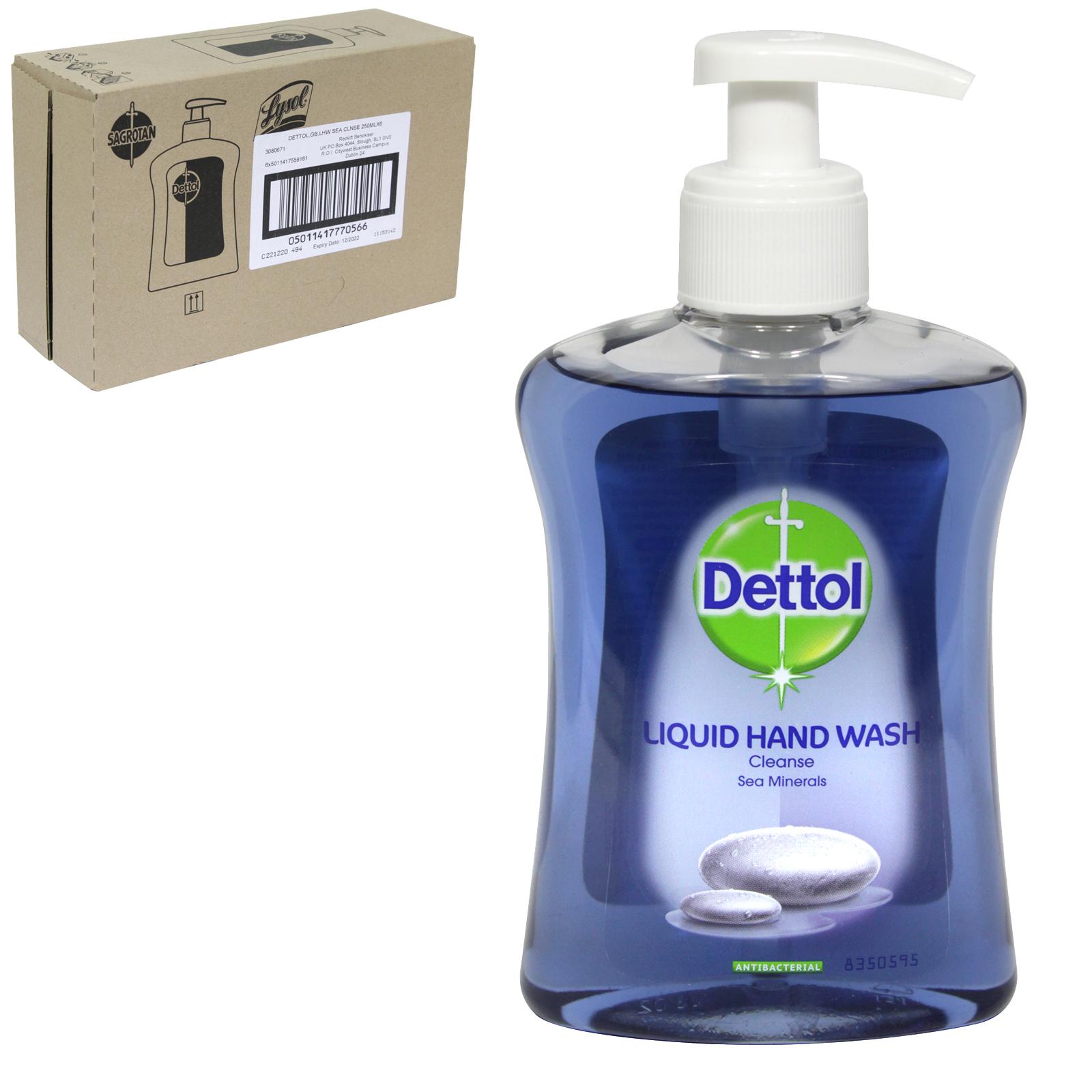 DETTOL LIQUID SOAP 250ML CLEANSING SEA MINERALS X6
