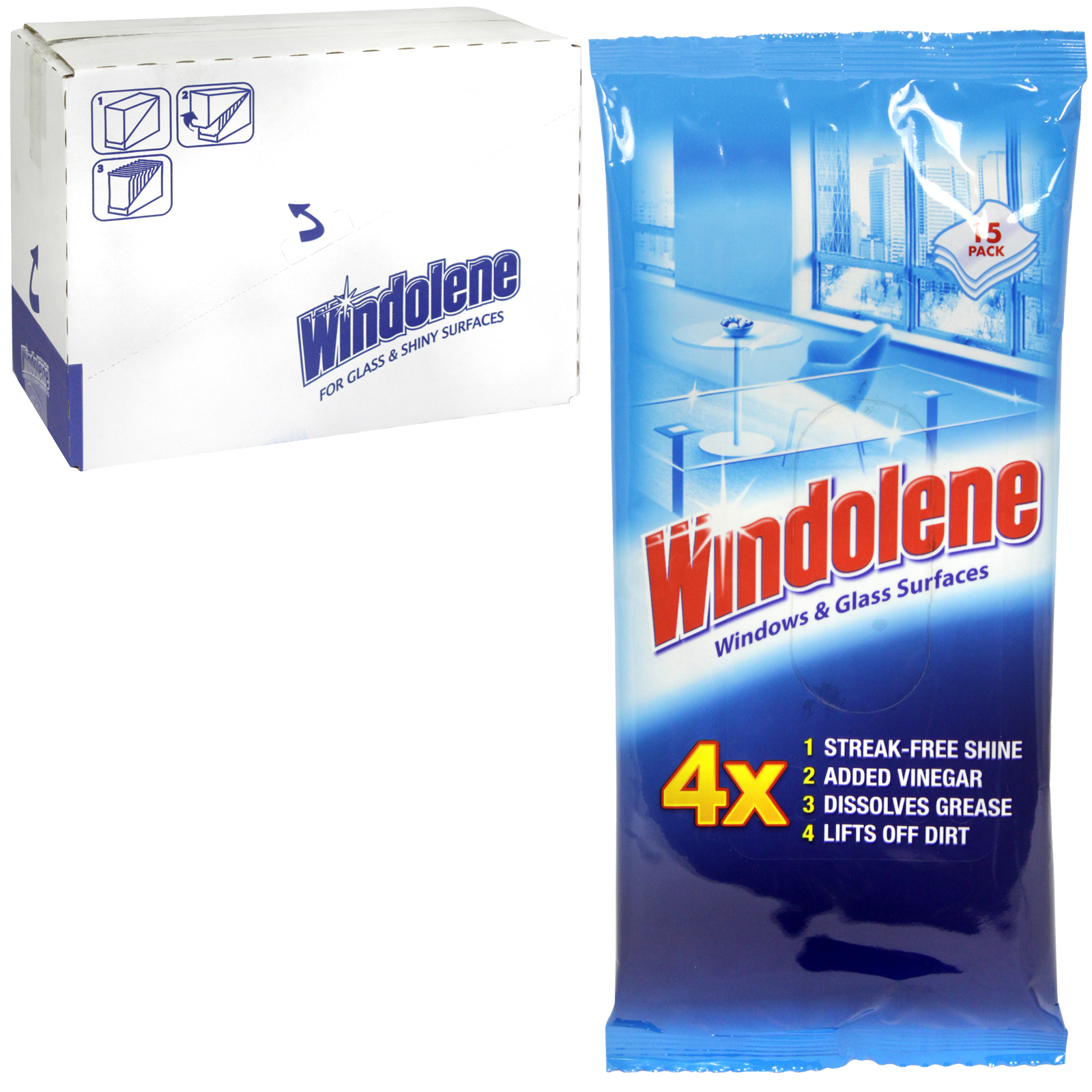 WINDOLENE 15 GLASS+SHINY SURF WIPES X15