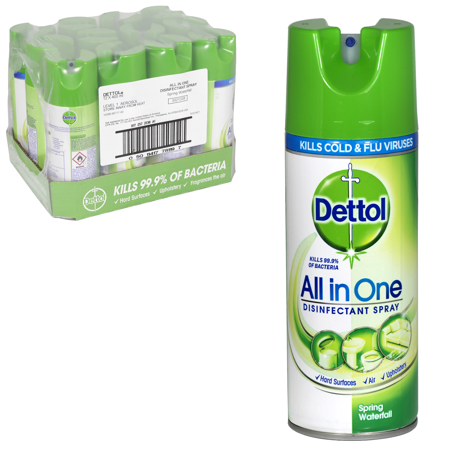 DETTOL ALL IN ONE DISINFECTANT SPRAY 400ML SPRING WATERFALL X12