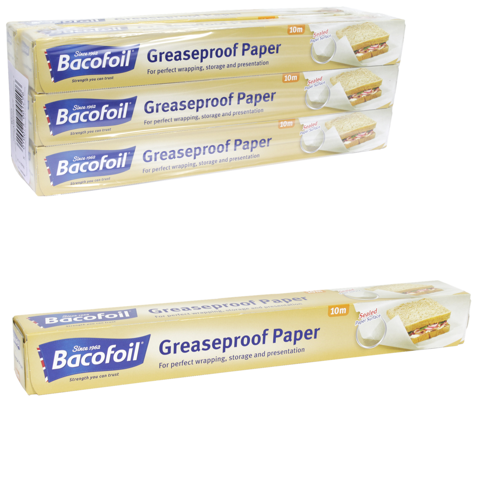 BACOFOIL GREASEPROOF ROLL 380MMX10M X6
