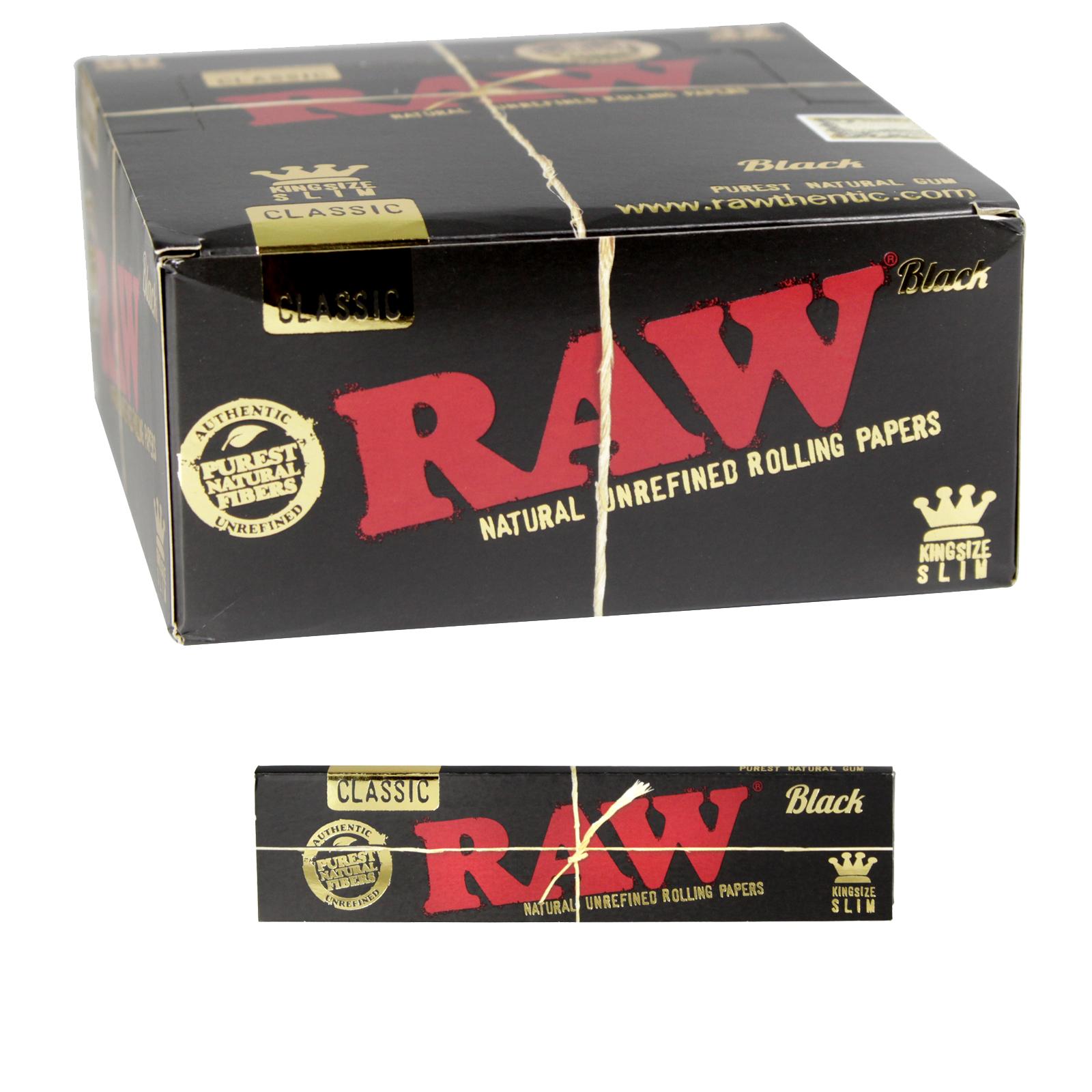 RAW BLACK CLASSIC KING SIZE SLIM 32 LEAVES X50