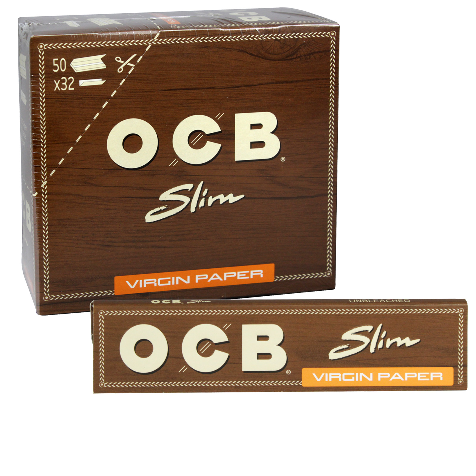 OCB VIRGIN CIGARETTE PAPERS 32S SLIM X50