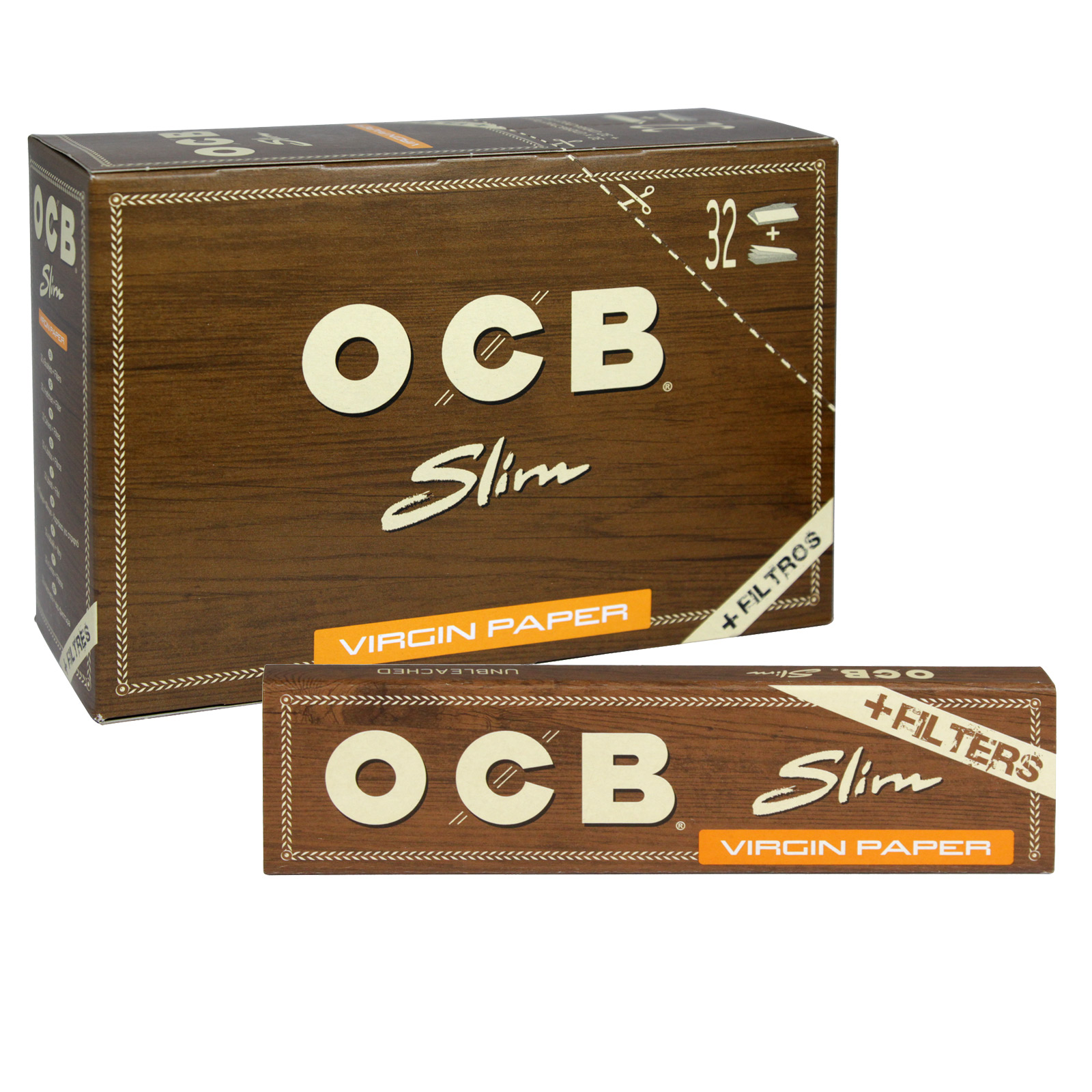 OCB VIRGIN CIGARETTE 32 SLIM PAPERS+32 TIPS