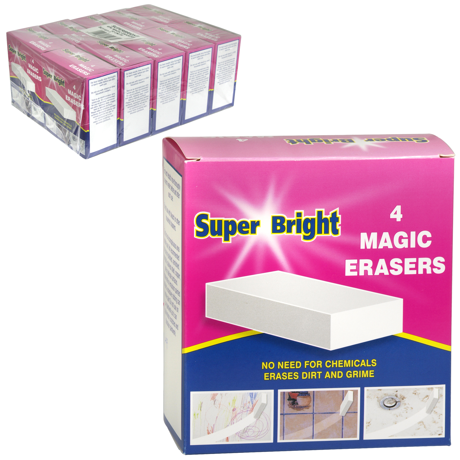 SUPERBRIGHT 4 MAGIC ERASERS X10