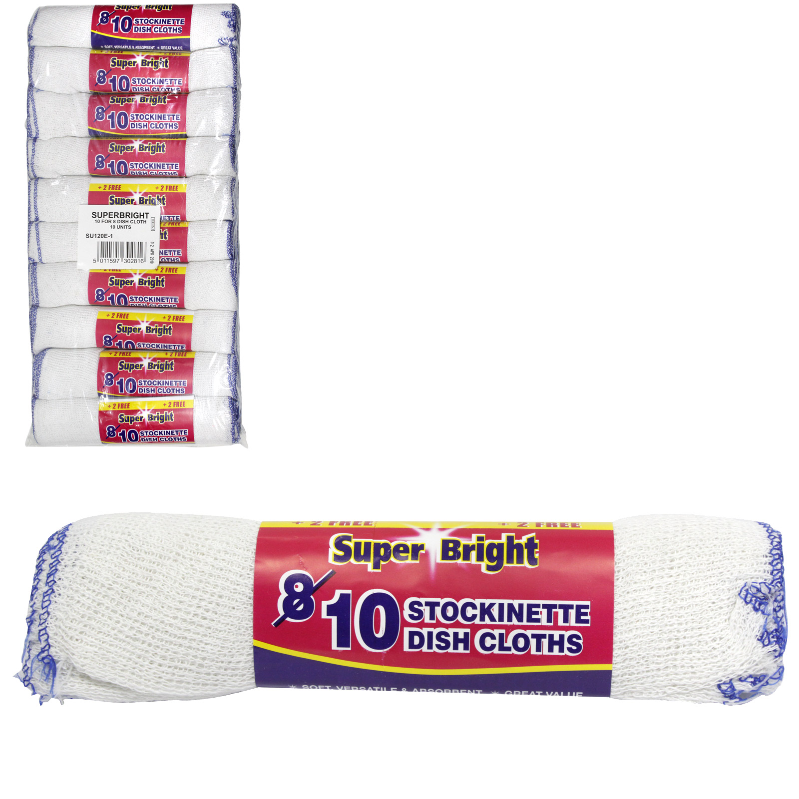 SUPERBRIGHT 10 FOR 8 DISHCLOTHS ON ROLL X10