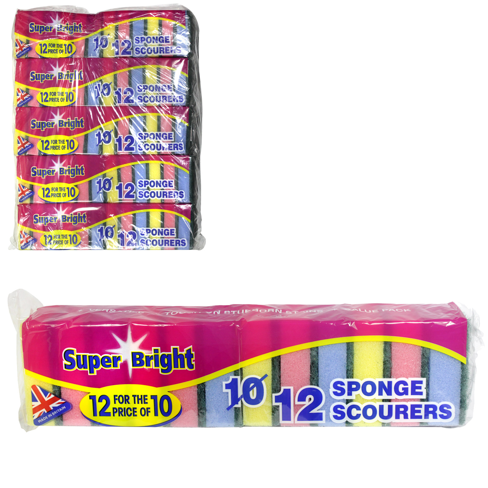SUPERBRIGHT 12/10 SPONGE SCOURERS 12 FOR THE PRICE OF 10   X10