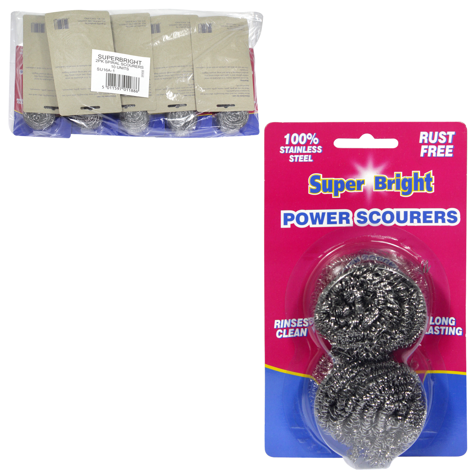 SUPERBRIGHT STAINLESS STEEL SPIRAL SCOURER 2PK X10