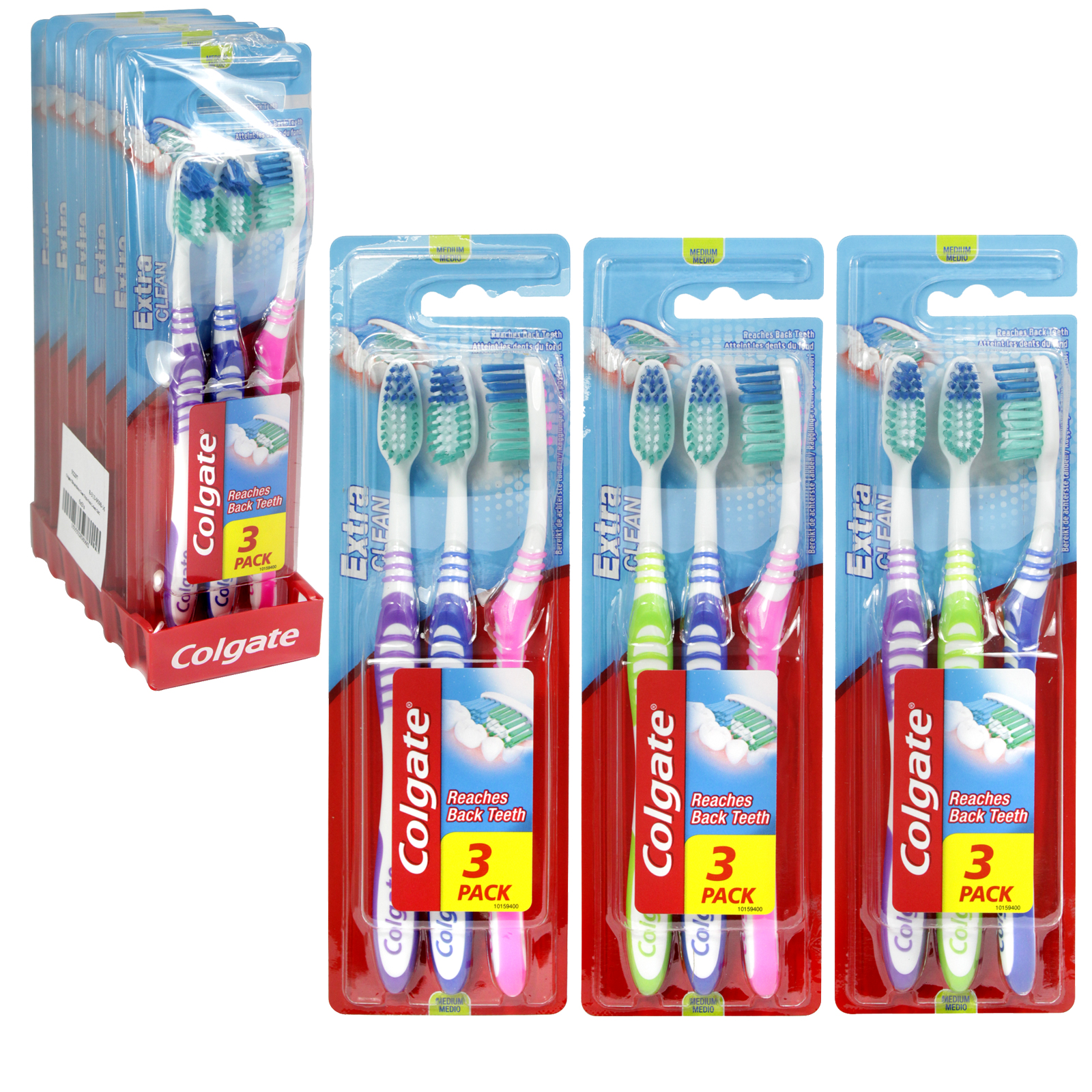 COLGATE TOOTHBRUSHES 3PK EXTRA CLEAN X6