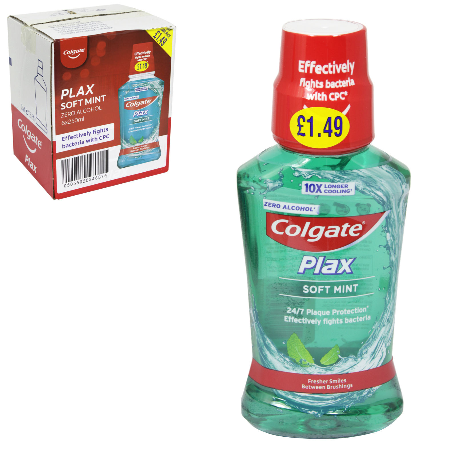 COLGATE PLAX MOUTHWASH 250ML SOFT MINT GREEN X6