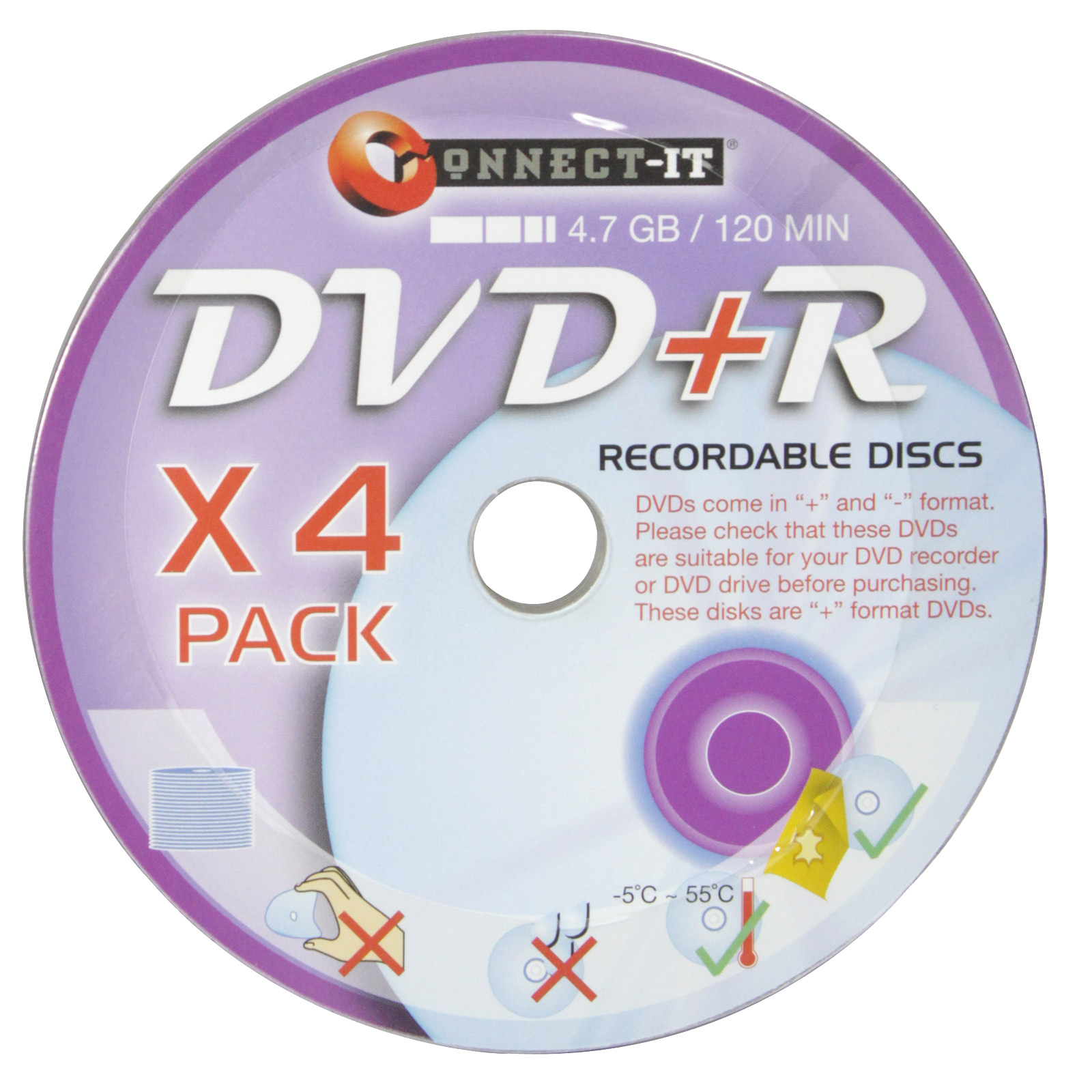 CONNECT-IT DVD+R RECORDABLE DISC 4PK
