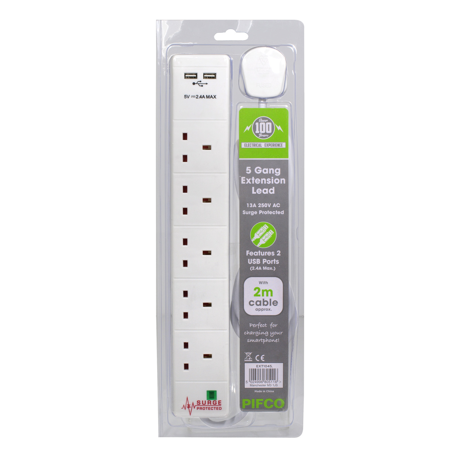 PIFCO EXTENSION LEAD 5GANG+2USB+SURGE PROTECTOR