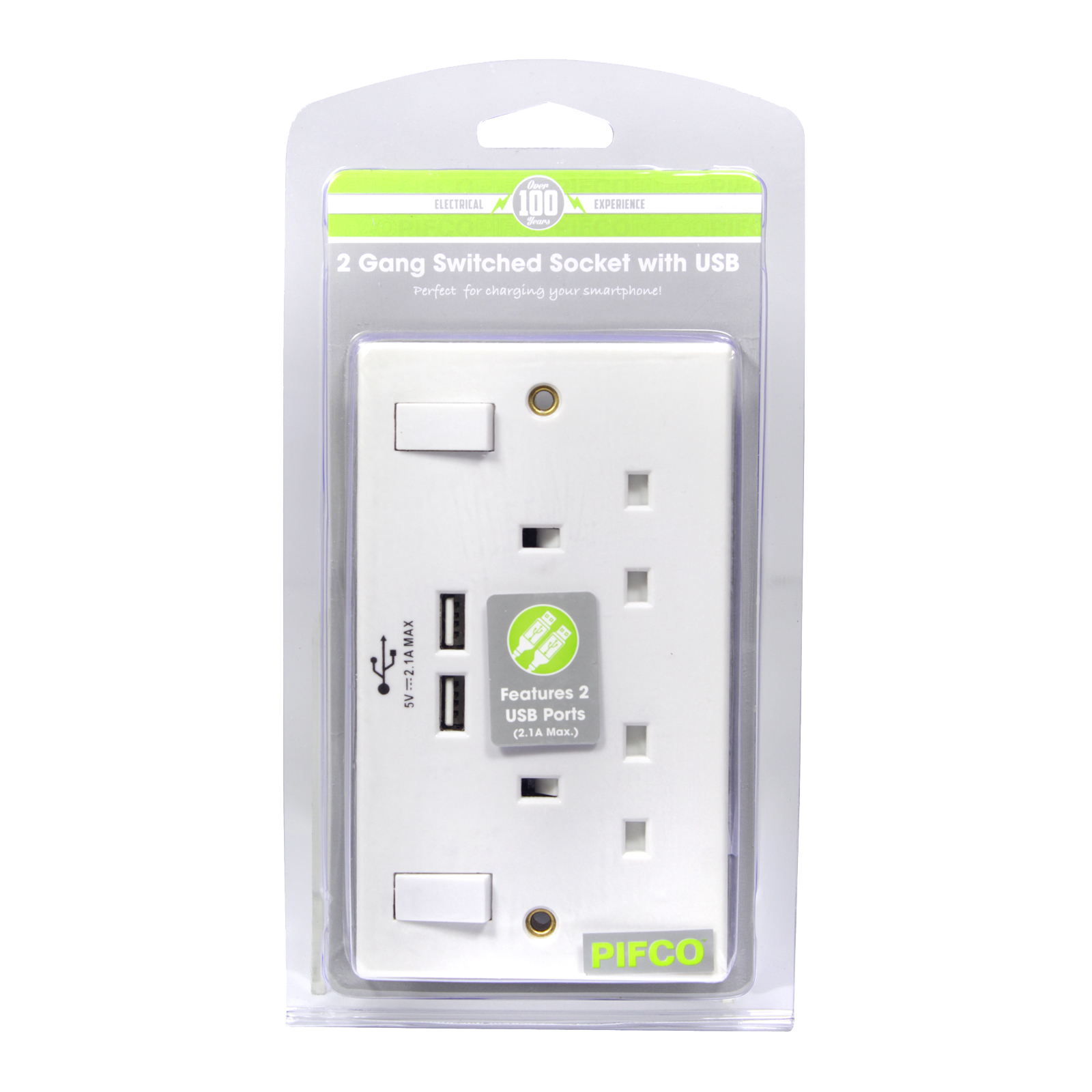 PIFCO SWITCH SOCKET 2GANG+2USB PORTS