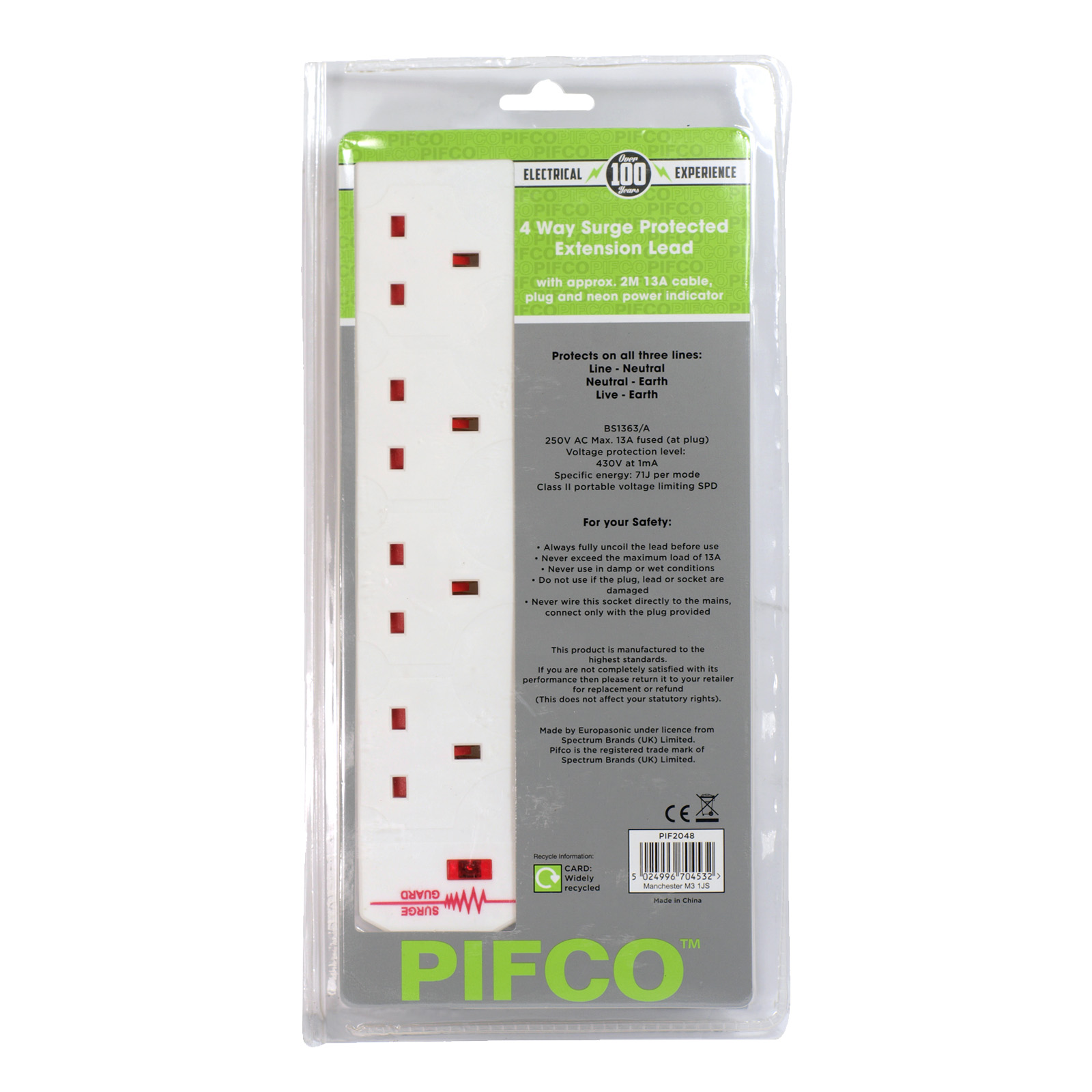 PIFCO EXTENSION+SURGE 4WAY 13AMP 2M