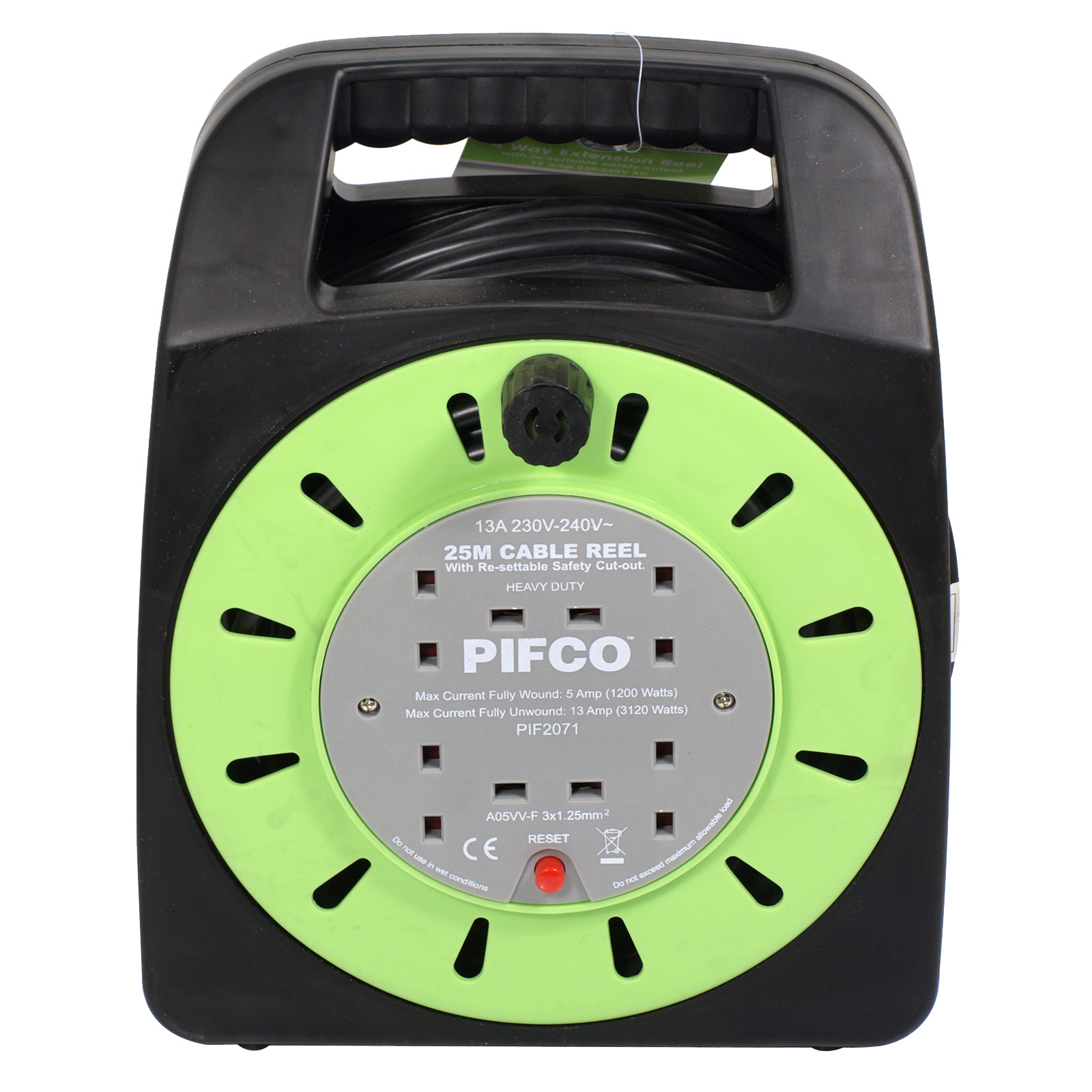 PIFCO CABLE REEL 4WAY 13AMP 25M