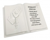 DAVID FISCHHOFF SOMEONE SPECIAL PRAYING HAND BOOK+ROSARY BEADS